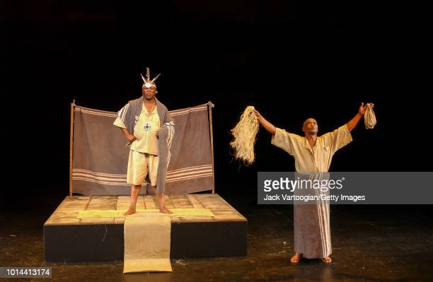 South African actors John Kani and Winston Ntshona perform at the final dress rehearsal of the Market Theatre of Johannesburg/Royal National Theatre...