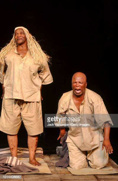 South African actors Winston Ntshona and John Kani as 'Creon' perform at the final dress rehearsal of the Market Theatre of Johannesburg/Royal...