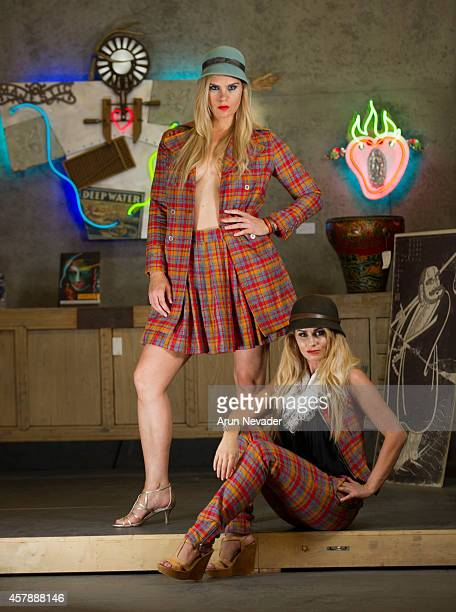 South African actress Angelique Gerber and Icelandic Olympic swimmer Ragga Ragnarsdottir pose during photoshoot at Arts District Flea on October 25...