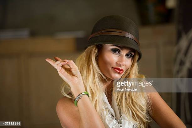 South African actress Angelique Gerber poses in the Arts District Flea during photoshoot in downtown Los Angeles on October 25 2014 in Los Angeles...
