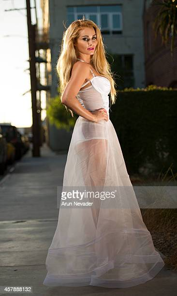 South African actress Angelique Gerber wears GOGA by Gordana during photoshoot in downtown Los Angeles on October 25 2014 in Los Angeles California