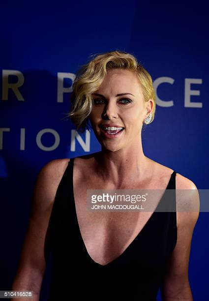 South African actress Charlize Theron after giving an interview at the Cinema for Peace at the Konzerthaus in Berlin on February 15 on the sidelines...