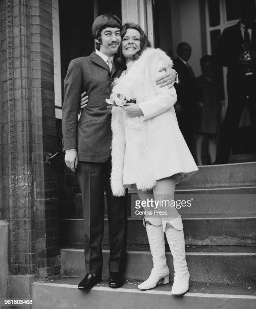 South African actress Janet Suzman and English theatre director Trevor Nunn after their wedding at Kensington Registry Office London 17th October 1969
