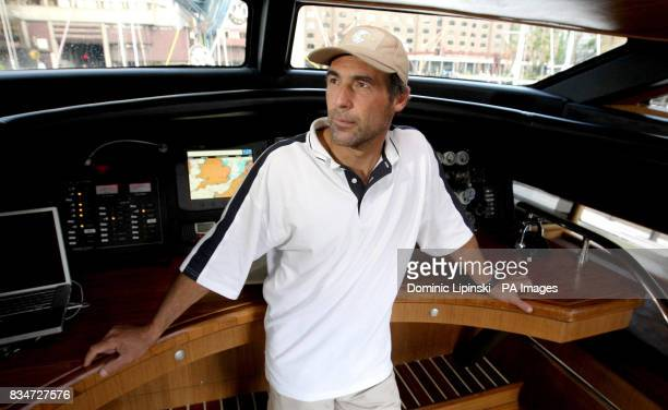 South African adventurer Mike Horn aboard his yacht 'Pangea' to promote his four year long expedition at St Katharine's Dock London