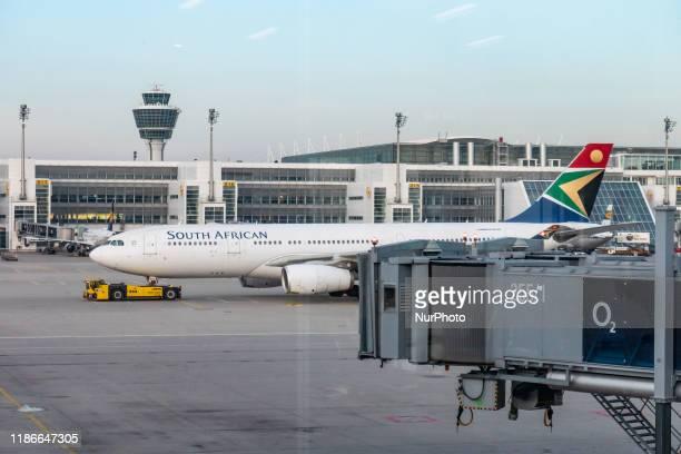 South African Airways Airbus A330 airplane as seen on 19 November 2019 at Munich International Airport MUC EDDM named Franz Josef Strauss Flughafen...