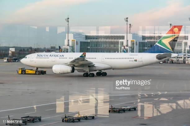 South African Airways Airbus A330 airplane as seen on 19 November 2019 at Munich International Airport MUC EDDM named Franz Josef Strauss, Flughafen...