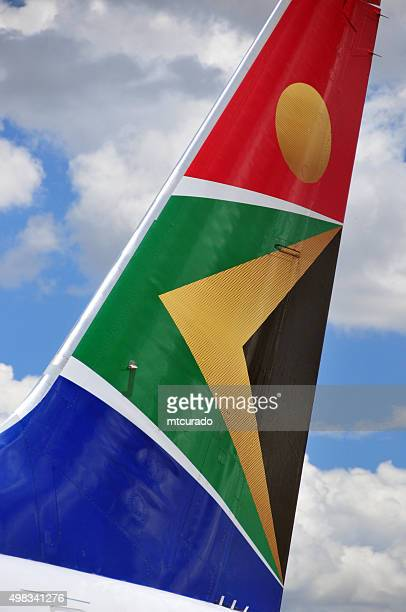 south african airways aircraft tail - south african culture stock photos and pictures