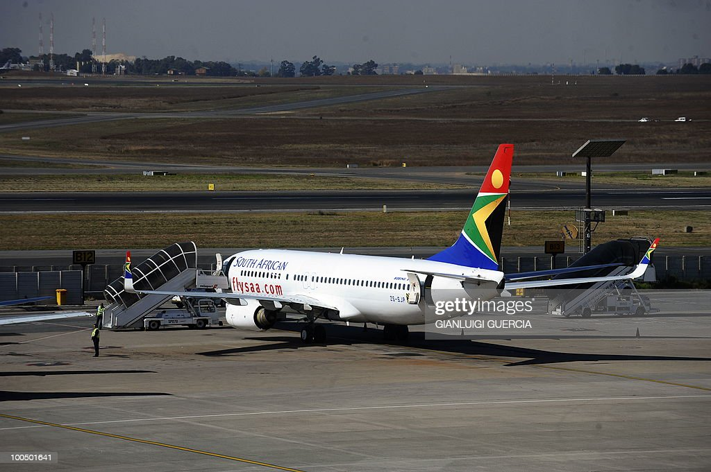 A South African airways carrier is parked in a bay on the tarmac on May 25, 2010 at the Johannesburg O.R Tambo International airport in Johannesburg, South Africa. South Africa will host the FIFA World Cup 2010 from the 11th of June to the 11 of July.