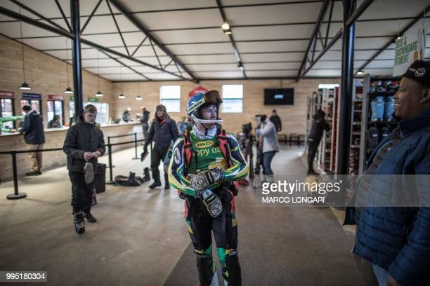 South African alpine skier competing for the 2018 Winter Olympics Conner Wilson is seen after a training session at Afriski in the Maluti Mountains...