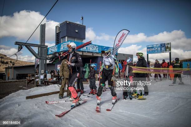 South African alpine skier competing for the 2018 Winter Olympics Conner Wilson waits for the skilift during a training session at Afriski in the...
