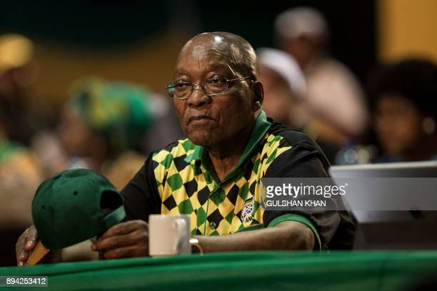 South African and African National Congress President Jacob Zuma looks on during a plenary meeting at the NASREC Expo Centre during the 54th ANC...