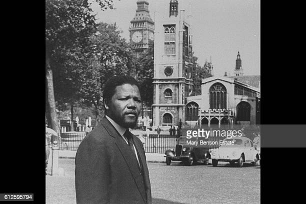South African anti-apartheid activist, revolutionary and politician Nelson Mandela on visit to London.