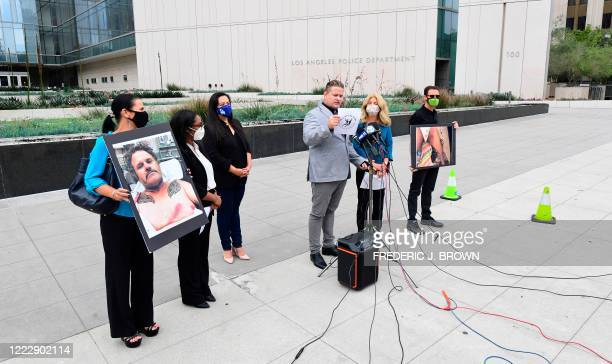 South African anti-apartheid activist/author Bradley Steyn addresses the media during a press conference outside the Los Angeles Police Department...