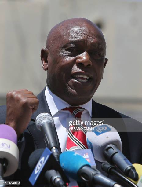 South African AntiApartheid leader Tokyo Sexwale gives a press conference with the President of the Palestinian Football Federation Major General...