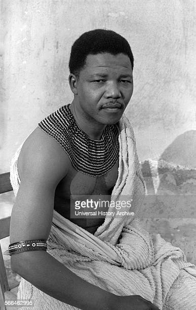 South African antiapartheid revolutionary Nelson Mandela wearing traditional beads and a bed spread during his time in hiding from the police South...