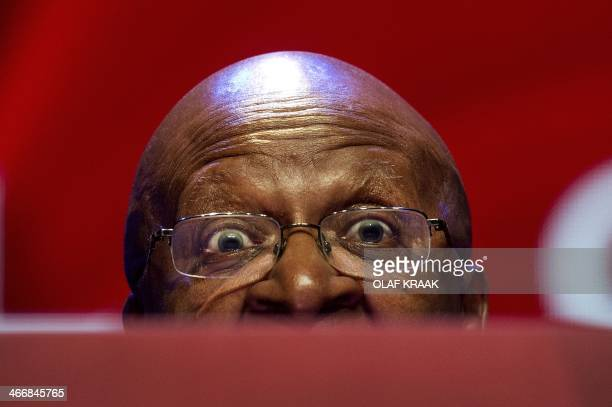 South African archbishop Desmond Tutu speaks during the Goed Geld Gala organised by a Dutch charity lottery in the theatre Carre in Amsterdam on...
