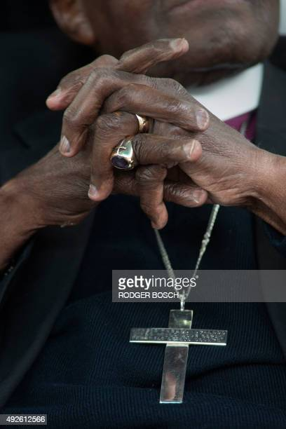 South African archbishop Nobel peace Prize laureate Desmond Tutu takes part in a handingover ceremony of a building by the City of Cape Town to the...