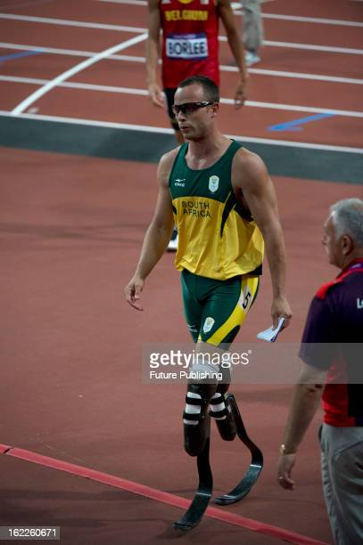 South African athlete Oscar Pistorius after a heat in the Men's 400m at the London 2012 Olympic Games taken on August 5 2012