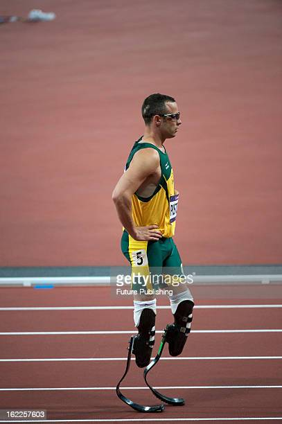 South African athlete Oscar Pistorius competing in a heat for the Men's 400m at the London 2012 Olympic Games taken on August 5 2012