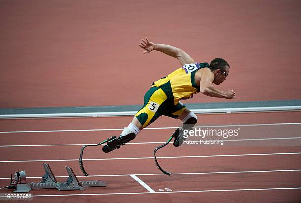 South African athlete Oscar Pistorius competing in the 2nd heat of the Men's 400m at the London 2012 Olympic Games taken on August 5 2012