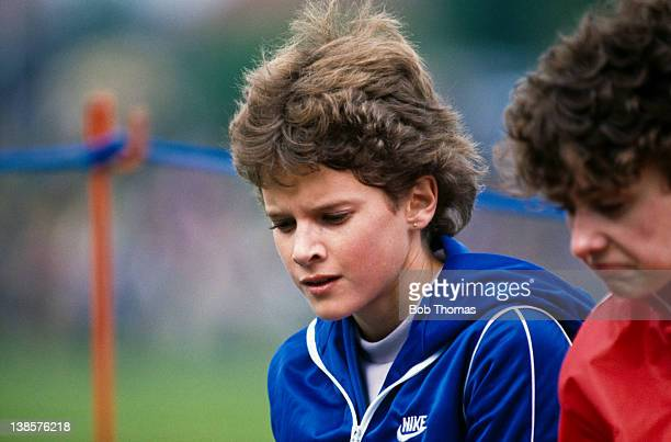 South African athlete Zola Budd at the HFC United Kingdom Athletics Championships in Cwmbran Wales May 1984