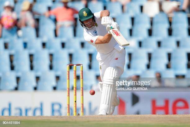 South African batsman AB de Villiers plays a shot during the first day of the second Test cricket match between South Africa and India at Supersport...