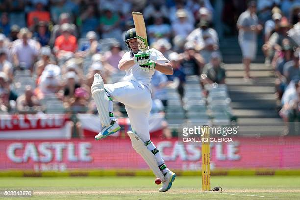 South African batsman AB de Villiers plays a shot during the third days play in the second Test cricket match between England and South Africa at the...