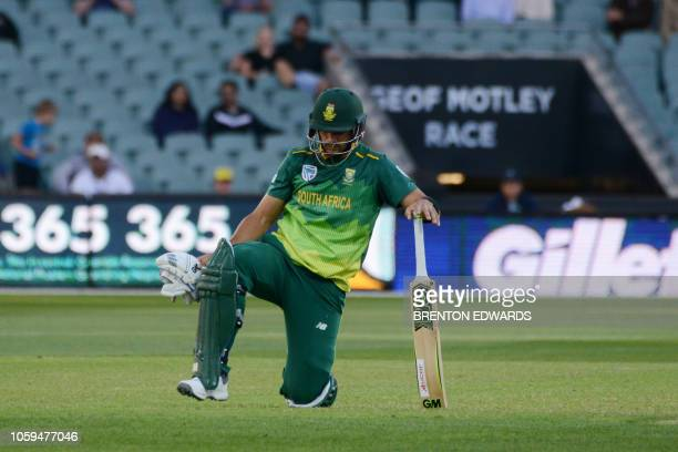 South African batsman Aiden Markram is run out during the second one day international cricket match between Australia and South Africa at the...