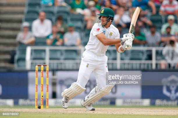 South African batsman Aiden Markram plays a shot on the first day of the fourth Test cricket match between South Africa and Australia at Wanderers...
