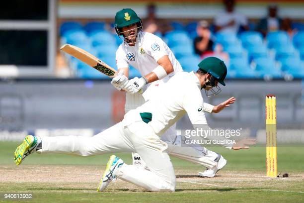 South African batsman Aiden Markram plays a shot on the third day of the fourth Test cricket match between South Africa and Australia won by South...