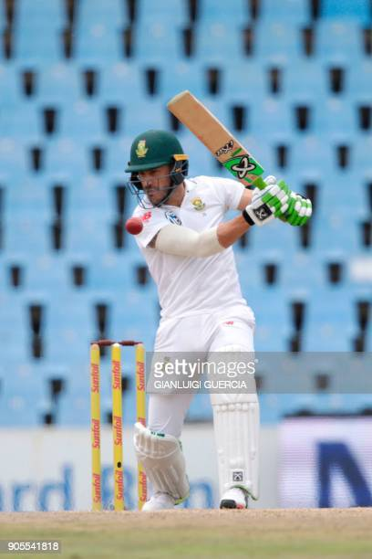 South African batsman and Captain Faf du Plessis plays a shot during the fourth day of the second Test cricket match between South Africa and India...