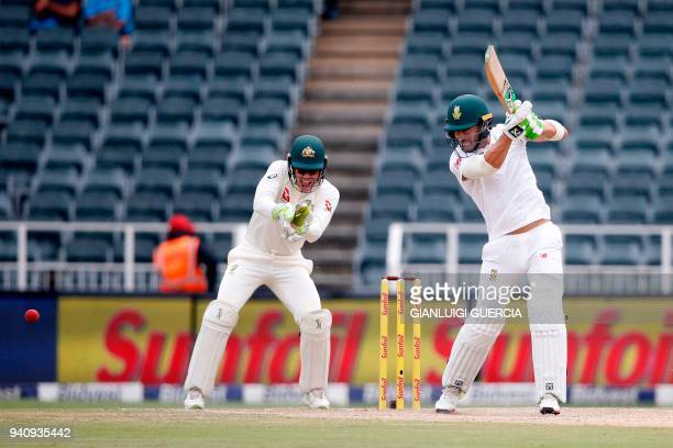 South African batsman and Captain Faf du Plessis plays a shot on the fourth day of the fourth Test cricket match between South Africa and Australia...