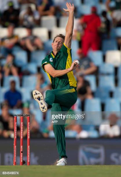 South African batsman Chris Morris delivers a ball during the fifth and last One Day International cricket match between South Africa and Sri Lanka...