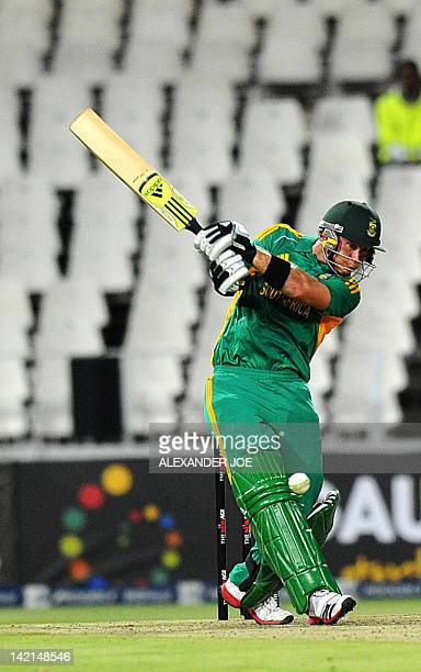 South African batsman Colin Ingram plays a shot during a oneoff T20 International against India for the New Age Cup at Wanderers Stadium in...