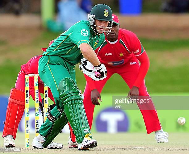 South African batsman Colin Ingram plays a stroke on October 15 2010 during the One Day international Cricket match between South Africa and Zimbabwe...