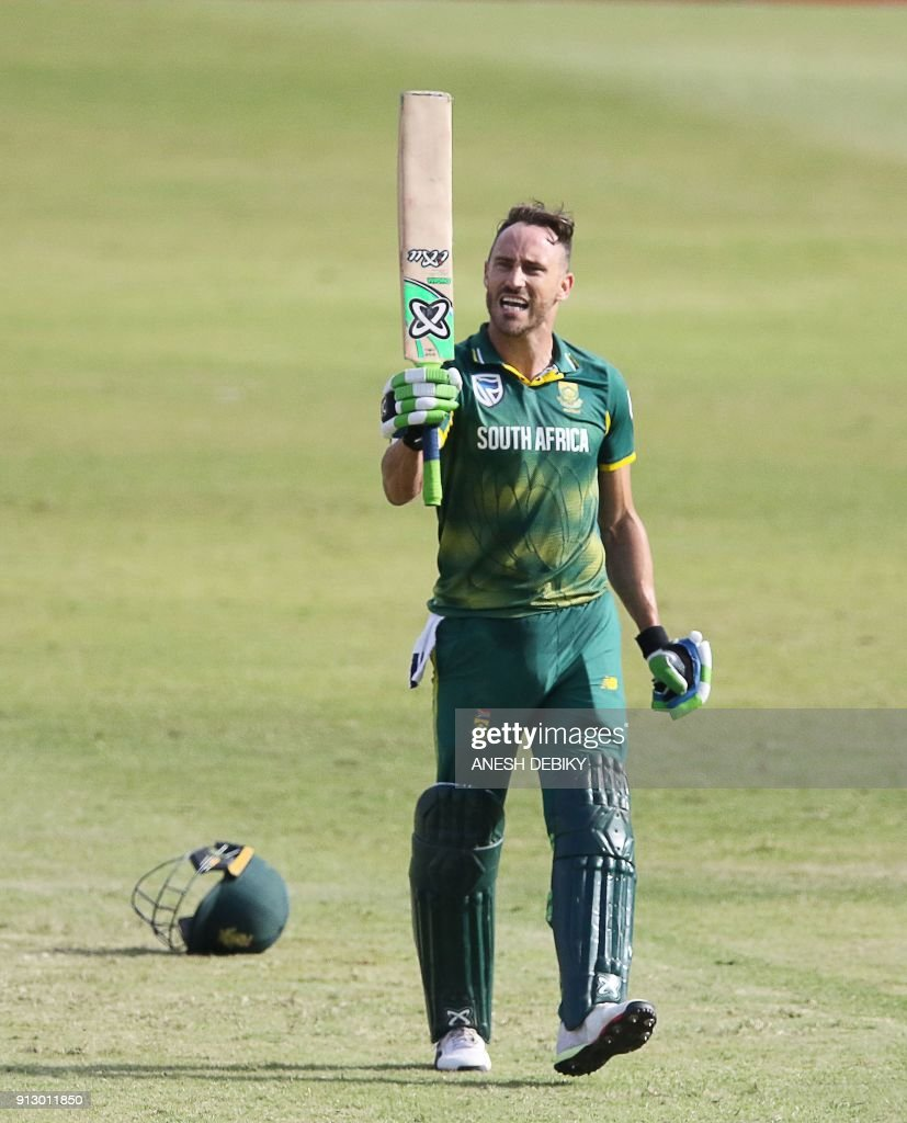 South African batsman Faf du Plessis celebrates his 100 runs during the first One Day International cricket match between South Africa and India at Kingsmead cricket ground on February 1, 2018 in Durban. /