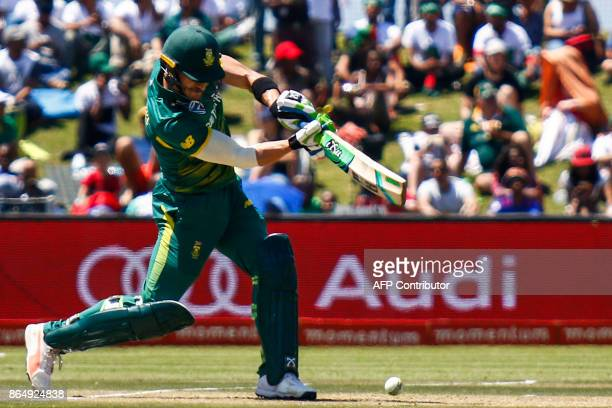 South African batsman Faf du Plessis plays a shot during the 3rd ODI match at the Buffalo Park in East London on October 22 2017 / AFP PHOTO /...