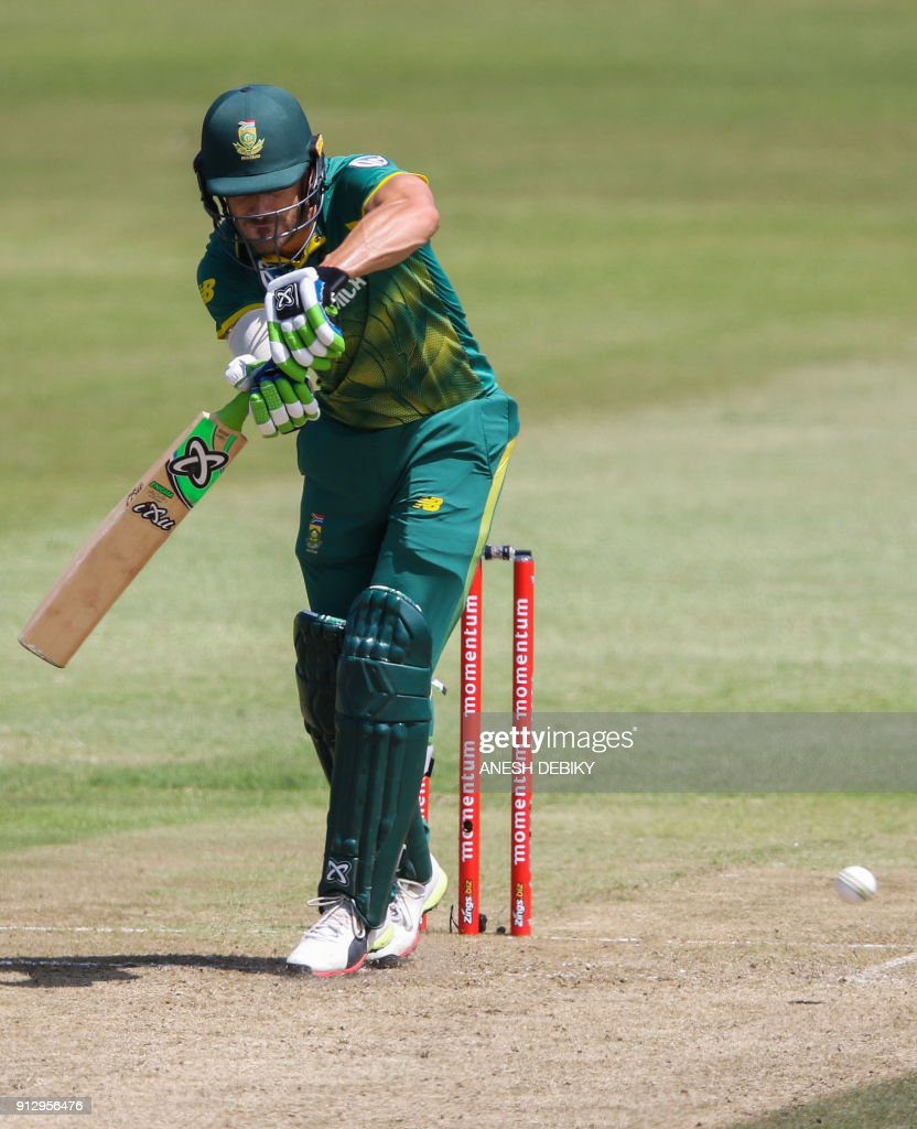 South African batsman Faf du Plessis plays a shot during the first One Day International cricket match between South Africa and India at Kingsmead cricket ground on February 1, 2018 in Durban. /