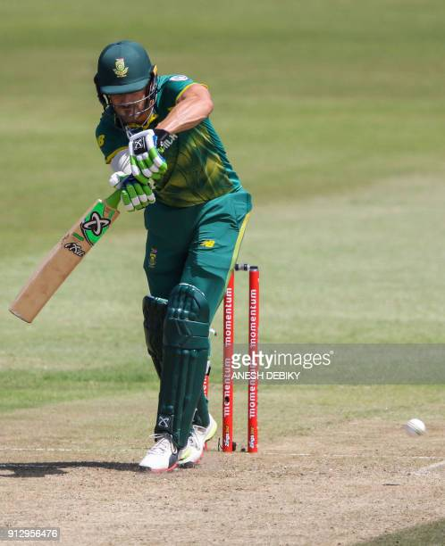 South African batsman Faf du Plessis plays a shot during the first One Day International cricket match between South Africa and India at Kingsmead...