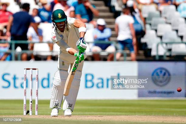 South African batsman Faf du Plessis plays a shot during the second day of the second Cricket Test match between South Africa and Pakistan at...
