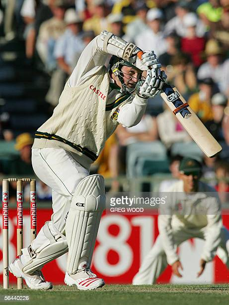 South African batsman Graeme Smith plays a drive on day one of the first Test against Australia in Perth 16 December 2005 At stumps South Africa are...