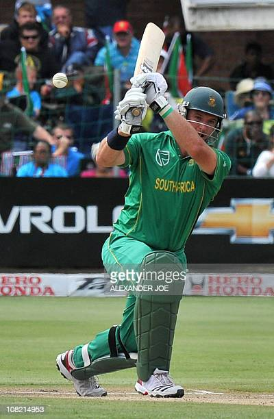 South African batsman Graeme Smith plays a shot before going out for 18runs during the 4th One Day International between India and South Africa St...