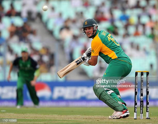 South African batsman Graeme Smith plays a shot during the Group B match 34 between South Africa and Ireland for The Cricket World Cup 2011...