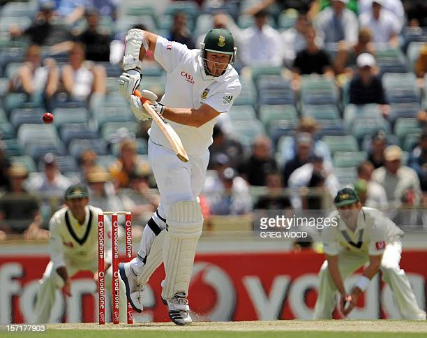 South African batsman Graeme Smith plays a shot on day one of the third cricket Test between South Africa and Australia at the WACA ground in Perth...