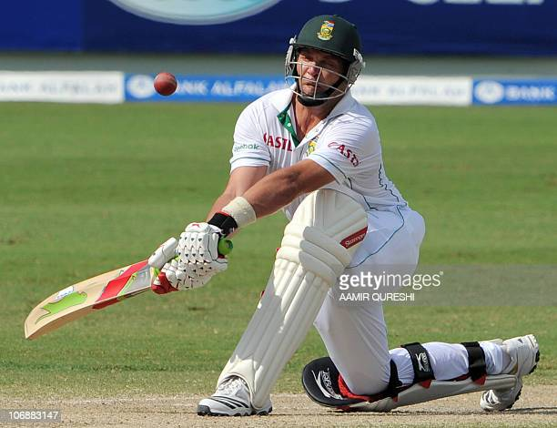 South African batsman Jacques Kallis plays a reverse sweep shot on the fourth day of the first Test match between Pakistan and South Africa at the...