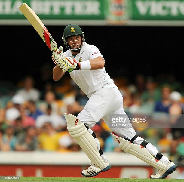 South African batsman Jacques Kallis plays a shot during the first cricket Test between South Africa and Australia at the Gabba ground in Brisbane on...
