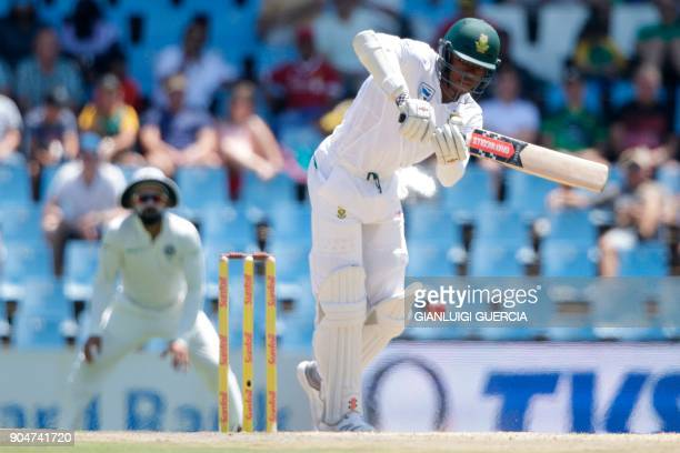 South African batsman Kagiso Rabada plays a shot during the second day of the second Test cricket match between South Africa and India at Supersport...