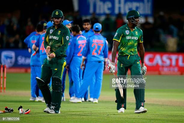 South African batsman Kagiso Rabada walks back to the pavilion after his dismissal during the fifth one day international cricket match between South...