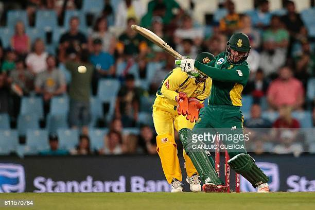 South African batsman Quinton de Kock plays a shot during the first One Day International cricket match Australia versus South Africa at the...
