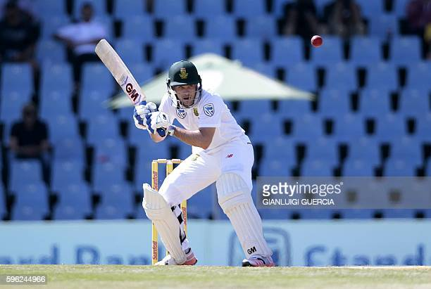 South African batsman Stephan Cook ducks to avoid a bouncer during the first day of the second cricket Test match between South Africa and New...